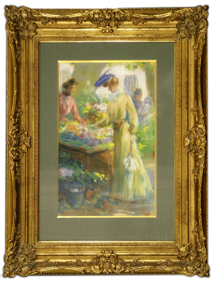 The Flower Market, Leon Fortuney, (Roughton Galleries, Inc.)
